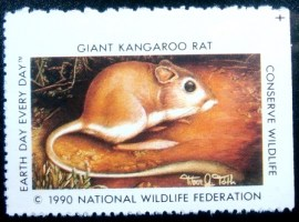 Selo National Wildlife Federation de 1990 Giant Kangaroo Rat