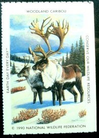 Selo National Wildlife Federation de 1990 Woodland Caribou