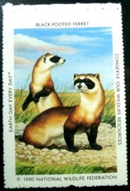 Selo National Wildlife Federation de 1990 Black-Footed Ferret