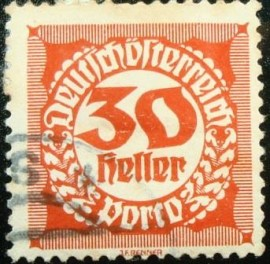 Selo postal da Áustria de 1920 Digit in circle 30