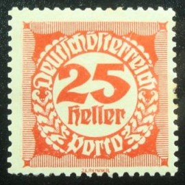 Selo postal da Áustria de 1920 Digit in circle 25