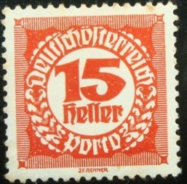 Selo postal da Áustria de 1920 Digit in circle 15