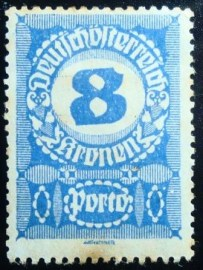 Selo postal da Áustria de 1921 Digit in circle 8