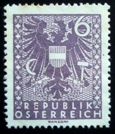 Selo postal da Áustria de 1945 New National Arms 6
