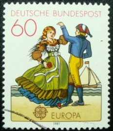 Selo postal da Alemanha de 1981 North German Dancers