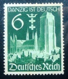 Selo postal da Alemanha Reich de 1939 Occupation of Danzig