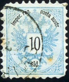 Selo postal da Áustria de 1883 Coat of arms 10 sld