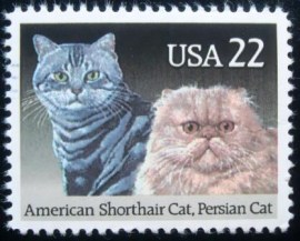 Selo postal dos Estados Unidos de 1988 American Shorthair and Persian Cat