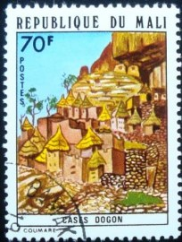 Selo postal do Mali de 1974 Dogon houses