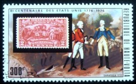 Selo postal do Alvo Volta de 1975 Surrender of Burgoyne at Saratoga