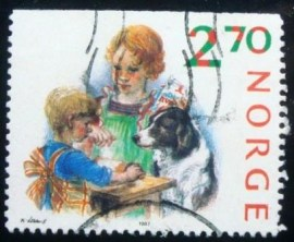 Selo postal da Noruega de 1987 Christmas preparations