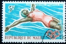 Selo postal do Mali de 1965 Swimmer