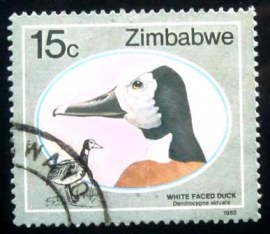 Selo postal do Zimbabwe de 1988 White-faced Whistling Duck