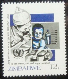 Selo postal do Zimbabwe de 1987 Oral Rehydration Therapy
