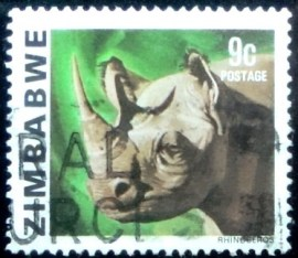 Selo postal do Zimbabwe de 1980 White Rhinoceros