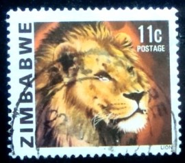 Selo postal do Zimbabwe de 1980 Lion