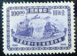 Selo postal da China de 1947 Modes of transport