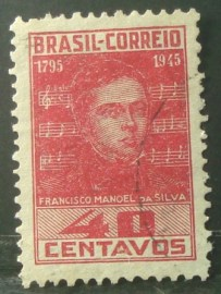 selo postal do Brasil de 1945 Francisco M. Silva - C 204 U