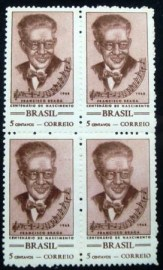 Quadra de selos postais do Brasil de 1968 Maesro Francisco Braga