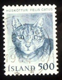 Selo postal da Islândia de 1982 Domestic Cat
