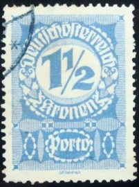 Selo postal da Áustria de 1921 Digit in circle 1½