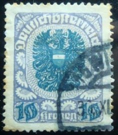 Selo postal da Áustria de 1921 Coat of arms 10 kr