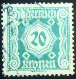 Selo postal da Áustria de 1922 Digit in octogon 20