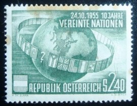 Selo postal da Áustria de 1955 10th Anniversary of the UN