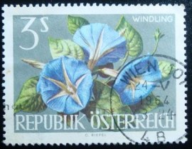 Selo postal da Áustria de 1964 Japanese Morning Glory