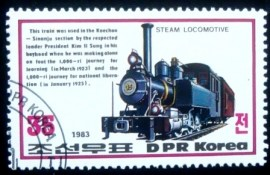 Selo postal da Coréia do Norte de 1983 Steam locomotive