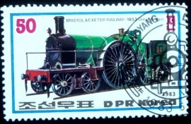 Selo postal da Coréia do Norte de 1983 Locomotive of Bristol & Exeter Railway