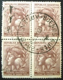 Quadra de selos postais da Argentina de 1943 Conference of Postal Savings Banks