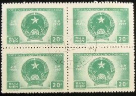 Quadra de selos postais do Vietnam de 1957 Democratic Republic of Vietnam