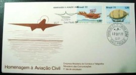 Envelope FDC Oficial de 1977 Aviação Civil 13697