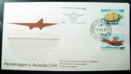 Envelope FDC Oficial de 1977 Aviação Civil 15508
