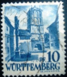 Selo postal da Alemanha de 1948 City Gate of Wangen - 8