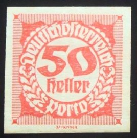 Selo postal da Áustria de 1923 Digit in circle 50