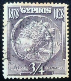 Selo postal do Chipre de 1928 Silver Coin of Amathus 3⁄4