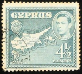 Selo postal do Chipre de 1938 King George VI & Map of Cyprus 4½