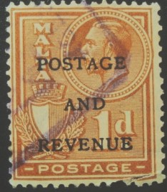 Selo postal de Malta de 1928 Overprinted Postage and Revenue 1