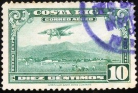 Selo postal da Costa Rica de 1953 Airplane over San Jose Airport