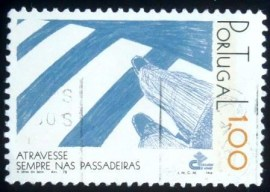 Selo postal de Portugal de 1978 Pedestrian on Zebra crossing