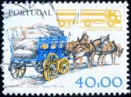 Selo postal de Portugal de 1979 Peasant Cart and Lorry