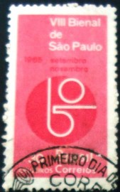 Selo postal do Brasil de 1965 Beinal de SP - C 537 N1D