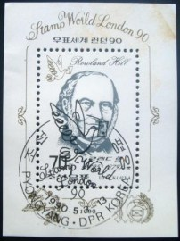 Selo postal da Coréia do Norte de 1990 Sir Rowland Hill BL 253