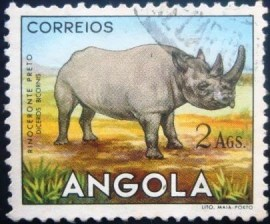 Selo postal de Angola de 1953 Black or Hook-lipped Rhinoceros 376 U