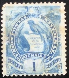 Selo postal da Guatemala de 1886 Coat of Arms 1