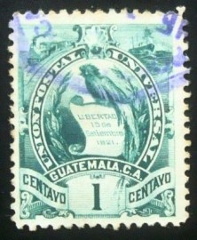 Selo postal da Guatemala de 1900 Coat of arms 1c