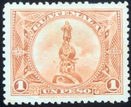 Selo postal da Guatemala de 1924 Monument to Columbus re-engraved