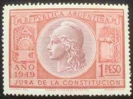 Selo postal da Argentina de 1949 Ratification of the constitution of 1949